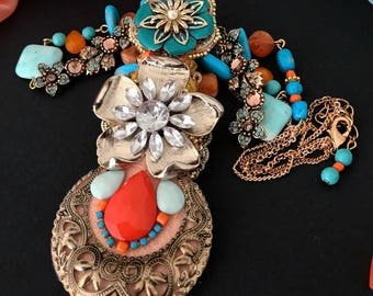 Floral Necklace, Morocco Necklace Beaded Necklace Statement Necklace Beaded Blue and Orange Jewelry Autumn Necklace Orange Turquoise Jewelry
