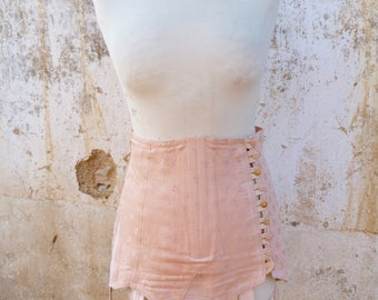 Vintage 1950/50s burlesque French  open bottom boned tea rose sateen girdle & garters straps lingerie corset pin up  in original box