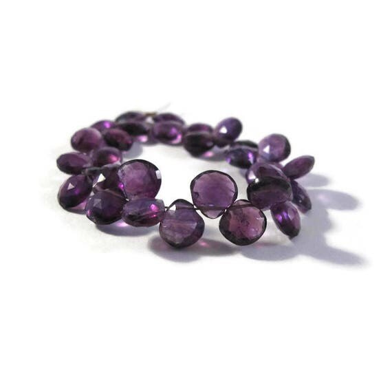 30 Amethyst Beads, Faceted Purple Briolettes, Four Inch Strand, 6mm x 6mm - 7mm x 7mm, February Birthstone (B-Am6c)