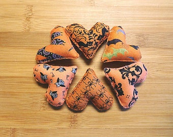 Halloween Orange Hearts Ornaments Primitive Bowl Fillers Holiday Decorations