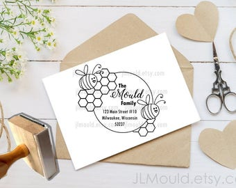 Custom Rubber Stamp featuring JLMould Bumble Bees on Hive, Personalized Stamp, Housewarming Return Address Stamp, Bee Stamp Logo 1071