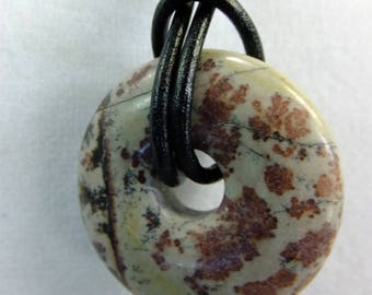 Reddish Brown and Gray Picasso Jasper Donut Choker on a Leather Cord Unisex Necklace NEW