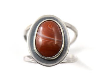 Handmade Lake Superior Agate Sterling Silver Double Band Ring Size 6.5