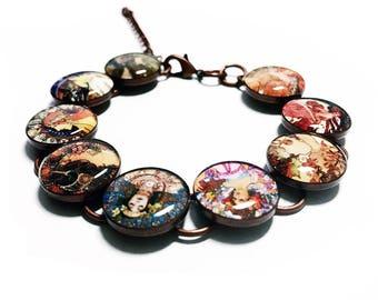 Art Bracelet, Alphonse Mucha Bracelet, Art Bracelet, Artist, Painter, Art Nouveau, Painting, Fine Art, Resin Bracelet, Handmade Jewelry