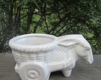 Small Vintage Donkey Cart Planter - White Pottery Planter - Donkey Decor
