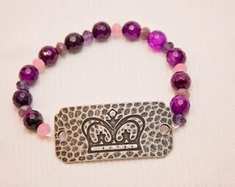 Princess bracelet, crown charm bracelet, queen beaded bracelet, purple bead bracelet, gemstone layer bracelet, stone stackable bracelet