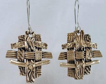 Woven Bronze Dangle Earrings Handcrafted Original Designs Sterling Silver Ear Wires OOAK Metal Clay