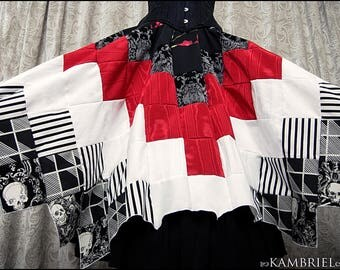 Cirque Macabre - Red White and Black Patchwork Skirt by Kambriel with Baroque Skull Accents & Dramatic Handkerchief Hem - New!