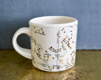 C O F F E E  CUP - Features the Big Dipper, Virgo, Leo, Cancer, Gemini, Taurus and Aries Constellations