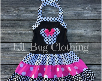 Minnie Mouse Dress- Minnie Mouse Hot Pink Black Polka Dot Dress- Minnie Mouse Birthday Party Girl Dress- Minnie Mouse Costume Dress