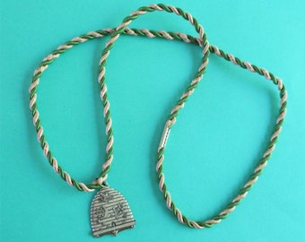 Vintage Metal Oddfellows FLT Medallion With Silk Necklace Cord