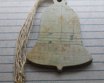 Bell shaped Gift Tags 15 rustic glittered music sheet paper over chipboard Christmas Hang Tags