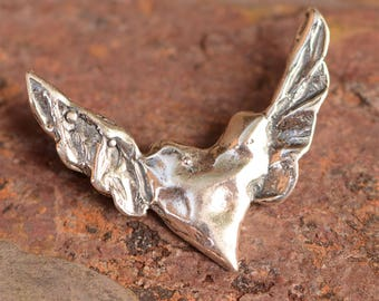 Sterling Silver Heart with Wings Pendant, Flying Heart