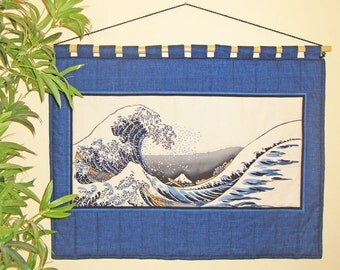 Wall Hanging Quilt Japanese Asian Hokusai Great Wave Design Horizontal Size