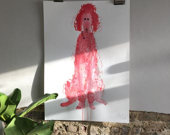 Original Faye Moorhouse painting - Giant Pink Poodle 005 - FREE SHIPPING