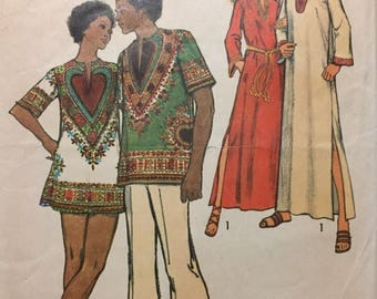 Vintage 70's Caftan Dashiki Sewing Pattern Simplicity 5043  Misses' Size 10 Bust 32  Complete