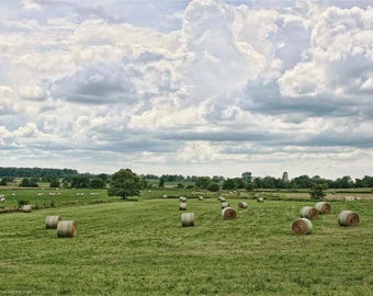 Countryside Farm Hay Bales Photo - Americana Photography - Green Fields of Ohio - Dramatic Sky - Photographs of America by Liberty Images