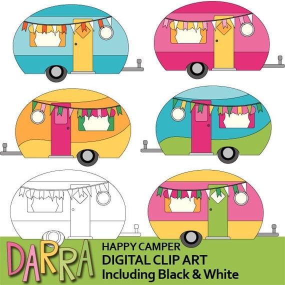 Camping Clipart Cute Caravan RV Clip Art Happy Camper
