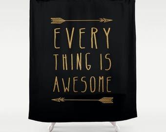 modern fabric minimalist typographic quote shower curtain- gold and black-inspiring words-bathroom decor-modern home decor