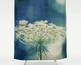 fabric shower curtains-nature photo-flowers-summer-blue and white-photo shower curtain-home decor-bathroom decor