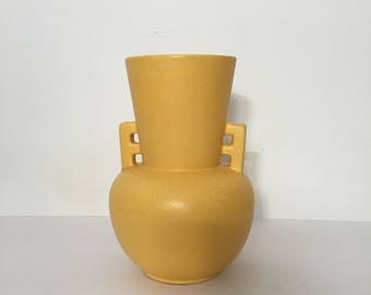 Mid Century Bright Yellow Vase with Speckles Notched Handle Matte Glaze Tiny Dots Cosmos