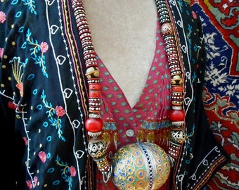 Aziza necklace, bold tribal statement necklace, global nomad