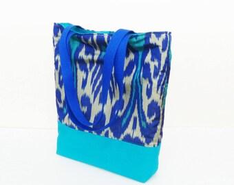 Handbag, ikat fabric, blue and turquoise silk ikat design shoulder bag, silk bag