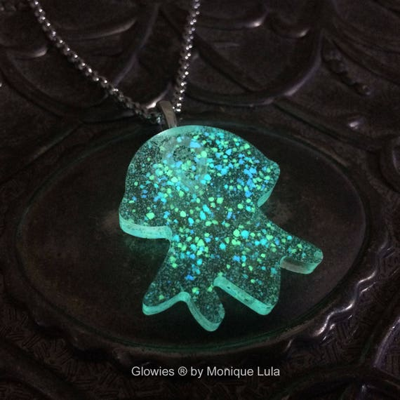 Glowing Jellyfish Space Galaxy Glow in the dark necklace