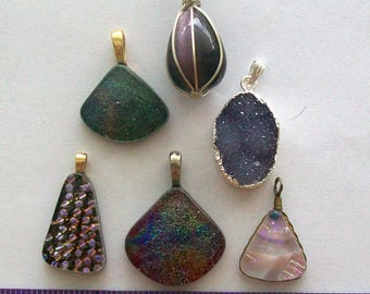 Destash handcrafted glass pendants with black rubber necklace  assorted colors