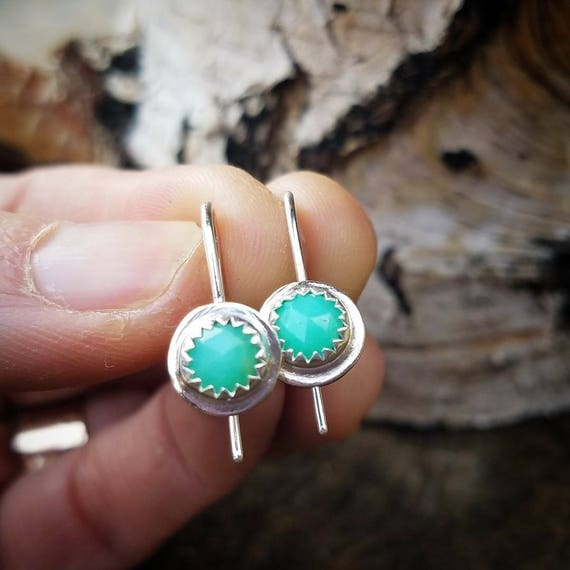 Chrysophrase Dangle Or Drop Sterling Silver Earrings - Mint Green Gemstone Jewelry - Boho Jewelry