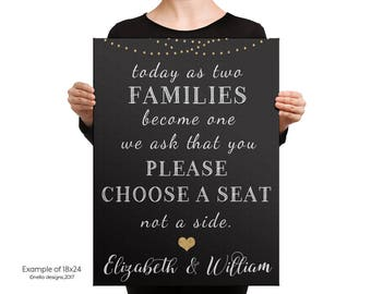Choose a seat not a side sign, Gold Wedding Decor, Seating sign, Wedding Poster, Black & Gold Party Decor, chalkboard Wedding Sign, Art Deco