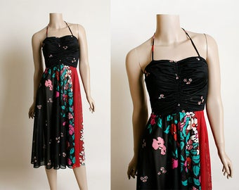 Vintage 1970s Dress - Dark Floral Print - Black Pink Red Green Sheer Flower Halter Sundress - Ruched Bodice - Small XS