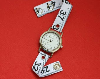 Tape Measure Watch in White - Round Face - Statement Jewelry created with Upcycled Measuring Tape
