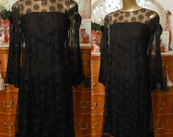 Vintage 60s Cocktail Dress, 1960s Black Silk Wiggle Dress with Illusion Bodice and Daisy Lace Sleeves and Overlay, Size XS Extra Small