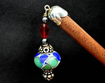 The Peacock Plume - Hairstick with Lampwork bead Sterling Silver and Swarovski Crystals