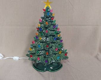 "16"" Doc Holliday Lighted Ceramic Christmas Tree Green"