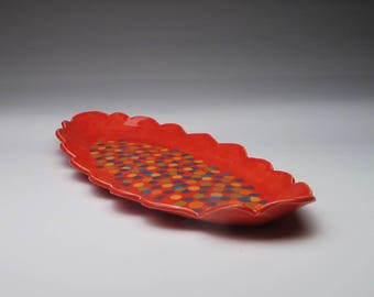 Red Multi Colored Dot Serving Tray