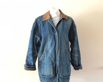 Denim Jacket Barn Coat Jean Jacket Vintage 1980s mens M