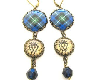 Scottish Tartan Jewelry - Campbell of Argyll Clan Tartan Earrings w/Luckenbooth Charms & Mystic Black Swarovski Crystal Pearls