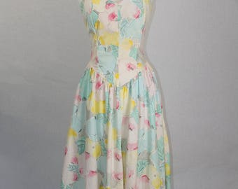 Vintage 1980s Pastel BOMBSHELL Strapless Circle Dress 1950s Style