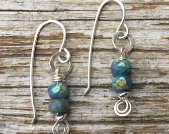 Mystic Chrysocolla Sterling Spiral Earrings