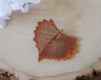 Cottonwood Leaf Brooch Copper, Hair Pin, Cottonwood Leaf Pin, Real Leaf, Copper Leaf, Nature Pin, Hat PIn, Organic Brooch, BROOCH22