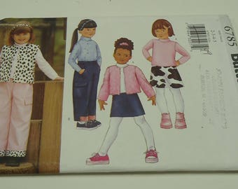 Butterick Childen's/Girl's Jacket, Vest, Top, Skirt And Pants Pattern 6785 Size 2,3,4,5