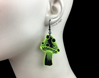 READY MADE SALE - Spotted Mushroom Earrings - Black & Neon Yellow Acrylic Laser Cut Earrings - Mushroom Jewelry