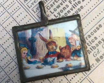 Mad Tea Party Soldered Antiqued Brass Pendant