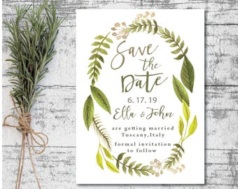printable save the date cards, greenery save the date, garden wedding save the date, woodland wedding, DIY wedding printables, boho save the