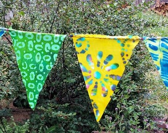 Green Yellow Blue All Batik Mini Flag Garland 12 Feet  (3.66 m)