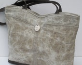 WAXED LINEN Tote BAG  with Gray Leather Trim Illumination by Elizabeth Z Mow