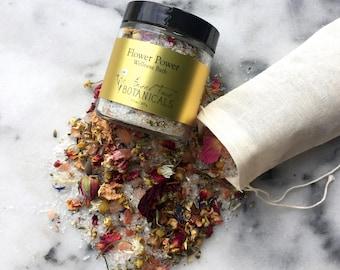 Flower Power Wellness Bath, Organic Bath Salts, Pink Himalayan Salt Bath, Bath Tea, Essential Oil Bath, Salt Soak, Mineral Bath, Epsom Salts