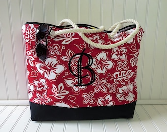 Beach Bag - Beach Tote Bag - Red Beach Bag - Zippered Beach Bag - Large Beach Bag - Cute Beach Tote - Floral Beach Bag - Monogram Beach Bag
